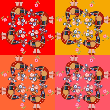 roze: Bright patchwork with fantastic birds and flowers. Vector illustration. Illustration
