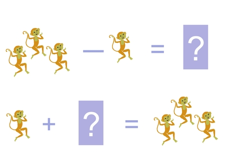 subtraction: Cartoon illustration of mathematical addition and subtraction. Examples with monkeys. Educational game for children. Illustration