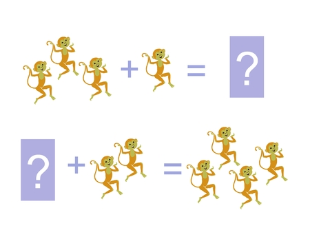 addition: Cartoon illustration of mathematical addition. Examples with funny monkeys. Educational game for children.