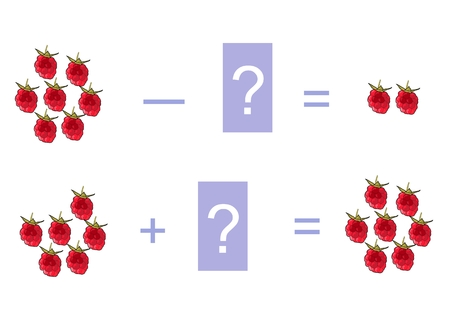 addition: Cartoon illustration of mathematical addition and subtraction. Examples with raspberries. Educational game for children.