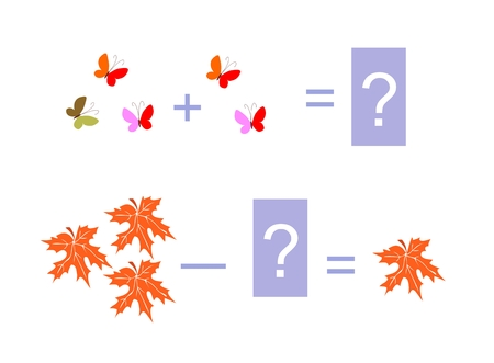 brain teaser: Cartoon illustration of mathematical addition and subtraction. Examples with butterflies and maple leaves. Educational game for children. Illustration