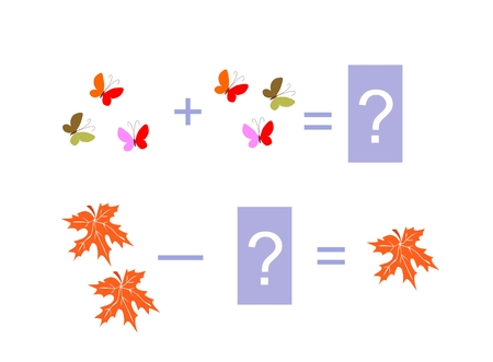 addition: Cartoon illustration of mathematical addition and subtraction. Examples with butterflies and autumn leaves. Educational game for children. Illustration