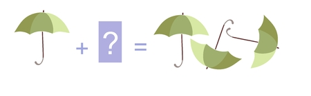 addition: Cartoon illustration of mathematical addition. Example with umbrellas. Educational game for children. Illustration