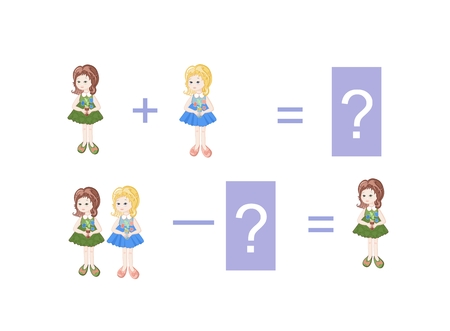 Cartoon illustration of mathematical addition and subtraction. Examples with little girls. Educational game for children.