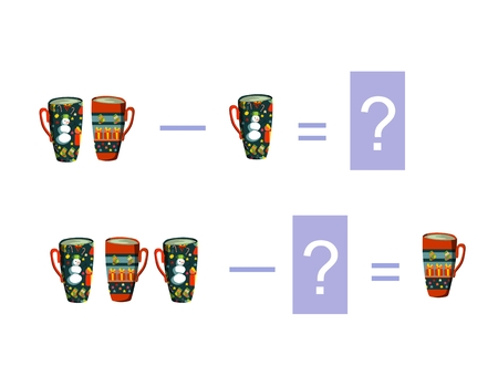teacups: Cartoon illustration of mathematical subtraction. Examples with teacups. Educational game for children.