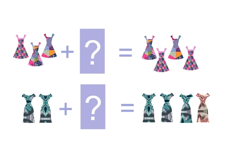 addition: Cartoon illustration of mathematical addition. Examples with beautiful dresses. Educational game for children.
