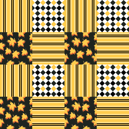 quilting: Autumnal patchwork. Checkered vector seamless pattern. Quilting design with geometric patches and patches with maple leaves. Illustration