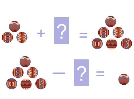 수학 덧셈과 뺄셈의 만화 그림입니다. 장식 볼이있는 예. 어린이를위한 교육 게임.