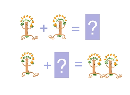 addition: Cartoon illustration of mathematical addition. Examples with funny pear trees. Educational game for children.