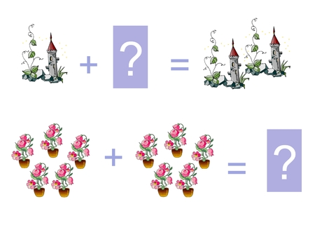 addition: Cartoon illustration of mathematical addition. Examples with fairy towers and fairy houseplants. Educational game for children.