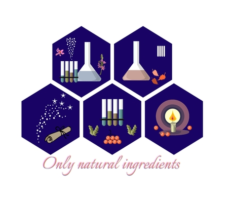 chemistry lab: Collection of five hexagonal icons with natural ingredients. Vector illustration. Illustration