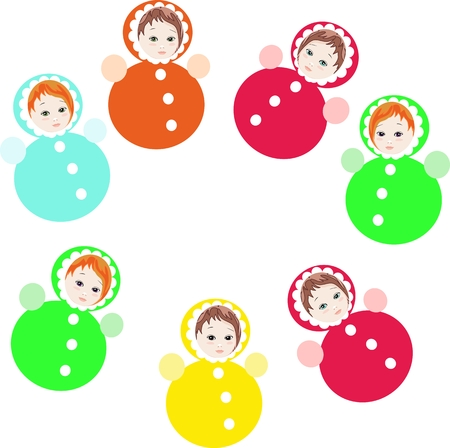 wobbly: Bright colorful roly-poly toys isolated on white background. Childish vector illustration.