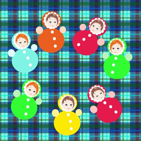 tumbler: Bright colorful roly-poly toys on checkered background. Childish vector illustration.