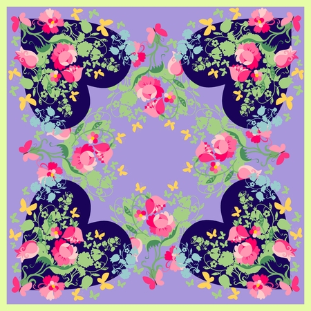 spring fashion: Spring fashion design. Bandana print with floral hearts. Silk neck scarf for Valentines day. Kerchief square pattern design style for print on fabric. Vector illustration.