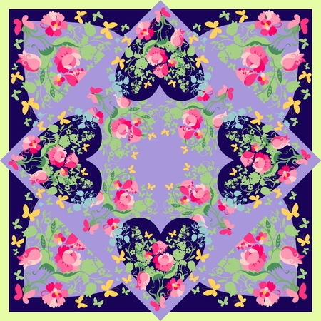 kerchief: Beautiful bandana print with hearts, flowers and butterflies. Silk neck scarf for Valentines day. Kerchief square pattern design style for print on fabric. Vector illustration.