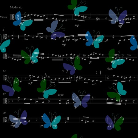 tissue paper art: Musical bandana print with butterflies. Kerchief seamless pattern design for print on fabric. Vector illustration.