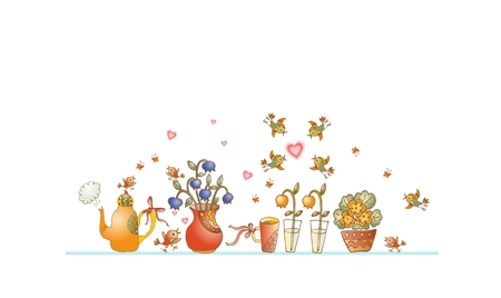 teacups: Tea time. Cute shelf with teapot, teacups, flowers and birds on white background. Beautiful colorful hand drawn vector illustration.