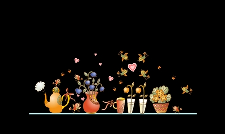 cake background: Tea time. Cute shelf with teapot, teacups, flowers and birds on black background. Beautiful colorful hand drawn vector illustration. Illustration