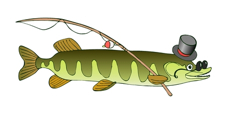 Erudite pike in hat and glasses is going to fish.  Vector cute cartoon illustration. Illustration