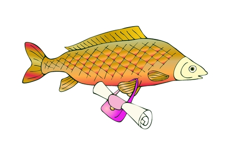 Fresh water fish carp with bag. Vector cute cartoon illustration.