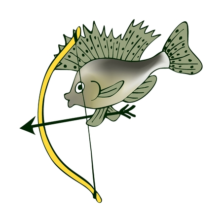 ruff: Little ruff with a bow. Cupid in world of fishes. Vector cute cartoon illustration.