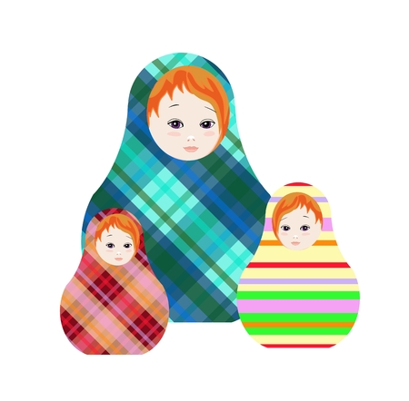 mu�ecas rusas: mu�ecas rusas - matshka. Recogida de juguetes con el ornamento geom�trico. ilustraci�n vectorial