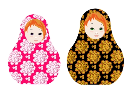matrioshka: Cute russian dolls - matrioshka. Cute toys with floral ornament. Vector illustration.