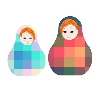 muñecas rusas: muñecas rusas - matshka. juguetes lindo con el ornamento geométrico. ilustración vectorial