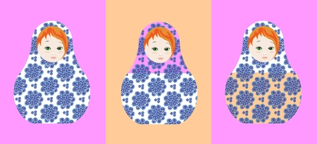 matrioshka: Cute russian dolls - matrioshka. Can be used for chocolate and sweets packaging design. Vector illustration.