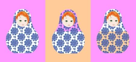 muñecas rusas: Lindo muñecas rusas - matshka. Puede ser utilizado para el diseño de chocolate y dulces de embalaje. Ilustración del vector. Vectores