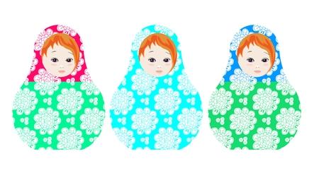 muñecas rusas: muñecas rusas - matshka. Recogida de juguetes con el ornamento floral tierna. ilustración vectorial