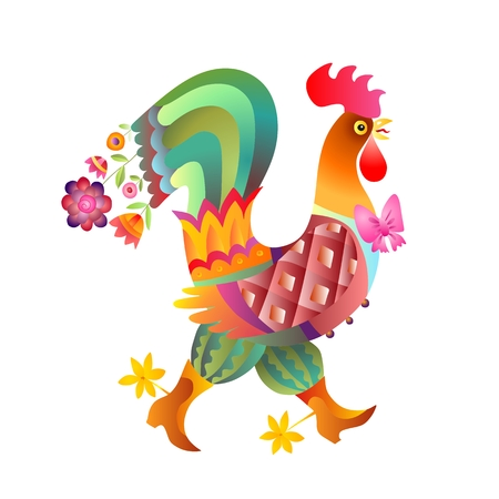 Fairy rooster on white background - chinese symbol of 2017 year. Vector illustration.