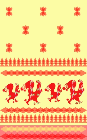 Quasi towel with roosters. Decorative ornament and cockerel - chinese symbol of 2017 year. Vector illustration.