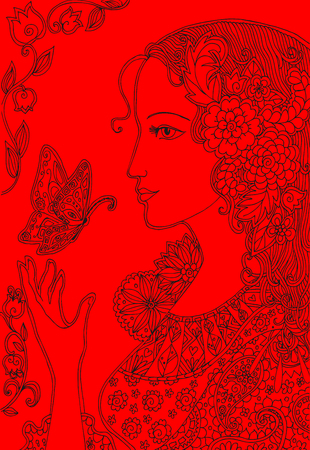 black woman: Doodle drawing of beautiful woman with butterflies and flowers. Hand drawn black lines on red background. Vector illustration.