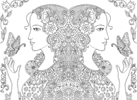 dessin de griffonnage de belles femmes avec des papillons et des fleurs. Vector illustration.