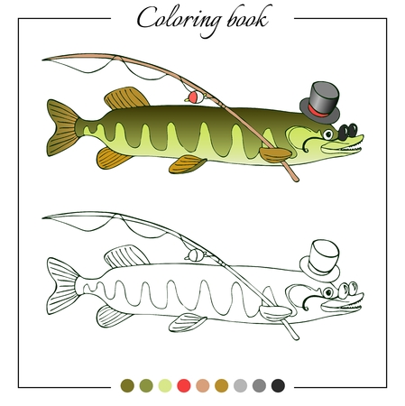erudite: Grid copy puzzle - the picture of erudite pike in hat and glasses. Educational game for children. Vector illustration.