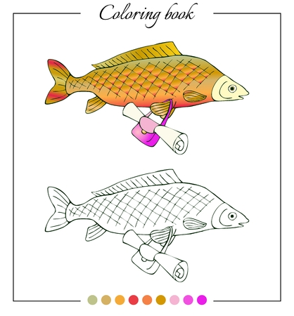 fresh water fish: Coloring book with fresh water fish carp with bag. Cartoon vector illustration for children education. Illustration