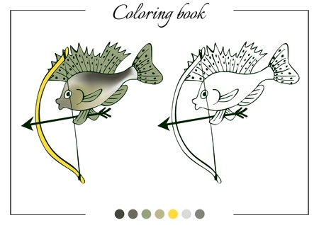 ruff: Coloring book with little ruff with a bow. Cartoon vector illustration for children education.
