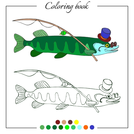 ling: Coloring book with erudite pike in hat and glasses. Cartoon vector illustration for children education. Illustration