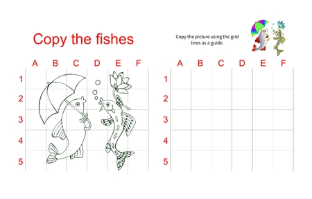 hand line fishing: Grid copy puzzle - the picture of two talking fish. Educational game for children. Vector illustration.