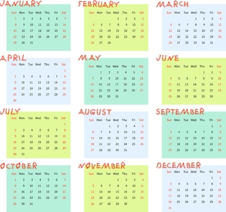 week: Calendar for 2017 year. Week starts on sunday. Vector illustration.