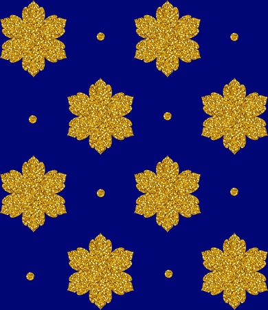 gold snowflakes: Seamless pattern with gold snowflakes and dots. Vector illustration.
