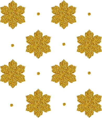 gold snowflakes: Seamless pattern with gold snowflakes and dots on white background. Vector illustration.