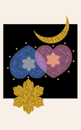 gold snowflakes: Beautiful card with two hearts, gold snowflakes, crescent and stars. Vector illustration. Illustration