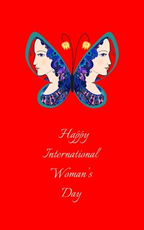 나비 날개에 아름 다운 여성의 다채로운 낙서 초상화. 국제 여자의 날 인사말 카드입니다. 벡터 일러스트 레이 션.
