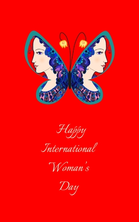 Colorful doodle portrait of beautiful women on butterfly wings. Greeting card with International woman's day. Vector illustration.