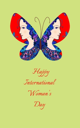 tender: Greeting card with International womans day. Butterfly with female profiles on wings. Doodle vector illustration.