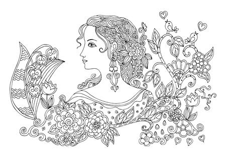Main doodle dessiné portrait de la belle femme avec des fleurs. Noir et blanc illustration vectorielle.