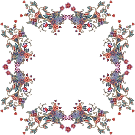 bandana: Decorative floral ornament. Can be used for frames, cards, bandana prints, kerchief design, tablecloths and napkins. Vector illustration.