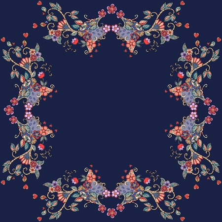 used ornament: Decorative floral ornament. Can be used for frames, cards, bandana prints, kerchief design, tablecloths and napkins. Vector illustration.
